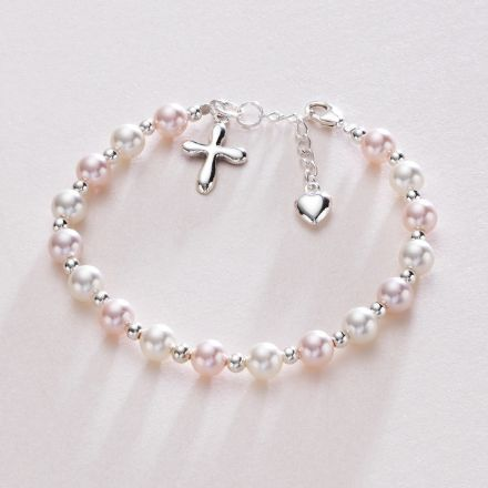 Silver Rounded Cross Pearl Bracelet